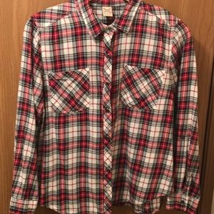 💥Red Plaid Cotton Flannel Shirt Size XL